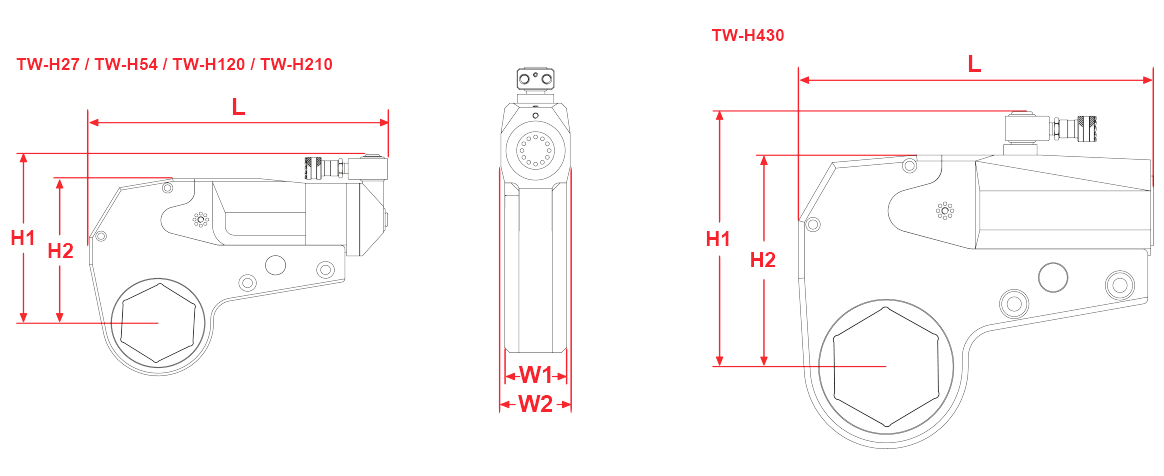 twh-series-hydraulic-torque-wrench-drawing