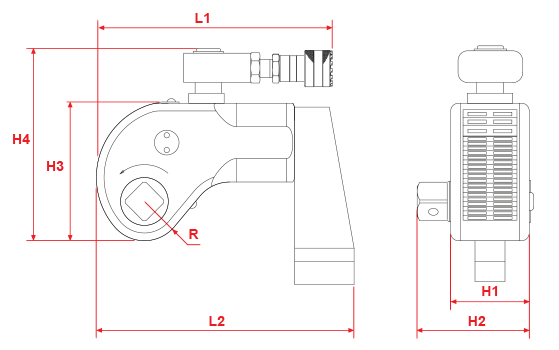 tws-series-hydraulic-torque-wrench-drawing
